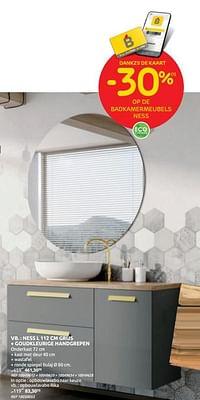 Ness grijs + goudkleurige handgrepen-Huismerk - Brico