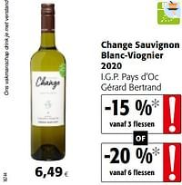 Change sauvignon blanc-viognier 2020 i.g.p. pays d'oc gérard bertrand-Witte wijnen