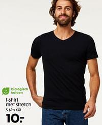 T-shirt met stretch-Huismerk - Hema