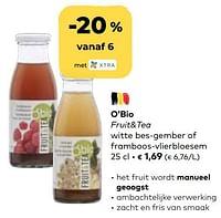 O'bio fruit+tea witte bes-gember of framboos-vlierbloesem-O