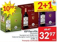 Igp pays d`oc haussmann sauvignon wit, merlot rood, cabernet sauvignon rood of syrah rosé-Rode wijnen