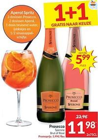 Prosecco sperone brut of rosé-Schuimwijnen