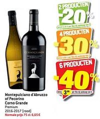 Montepulciano d`abruzzo of pecorino corno grande premium 2016-2017 rood-Rode wijnen