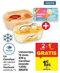 Ijs carrefour + ijshoorntjes, carrefour-Huismerk - Carrefour