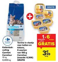 Kattenbakvulling comfort carrefour + terrine in vlootje voor katten en kittens, 6 soorten carrefour-Huismerk - Carrefour