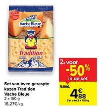 Set van twee geraspte kazen tradition vache bleue-Vache bleue