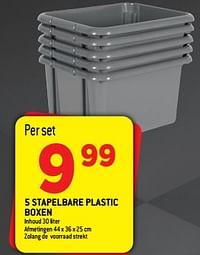 5 stapelbare plastic boxen-Huismerk - Smatch