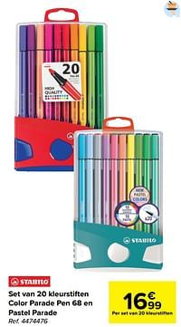 Set van 20 kleurstiften color parade pen 68 en pastel parade-Stabilo