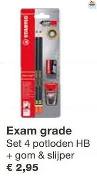 Exam grade set 4 potloden hb + gom + slijper-Stabilo