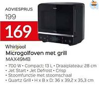 Whirlpool microgolfoven met grill max49mb-Whirlpool