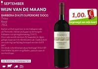 Barbera d`asti superiore docg tirteo rood-Rode wijnen