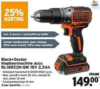Black+decker klopboormachine accu bl188e2k-qw 18v 2,5ah-Black & Decker
