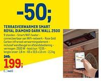 Terrasverwarmer smart royal diamond dark wall 2500-Sunred