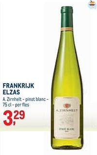 Frankrijk elzas a. zirnhelt - pinot blanc-Witte wijnen