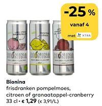 Bionina frisdranken pompelmoes, citroen of granaatappel-cranberry-Bionina