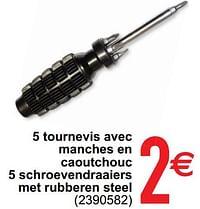 5 tournevis avec manches en caoutchouc 5 schroeven draaiers met rubberen steel-Huismerk - Cora
