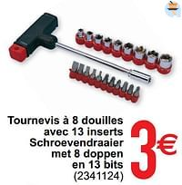 Tournevis à 8 douilles avec 13 inserts schroeven draaier met 8 doppen en 13 bits-Huismerk - Cora