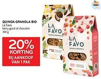 Quinoa granola bio la favo 20% korting bij aankoop van 1 pak-La Favo