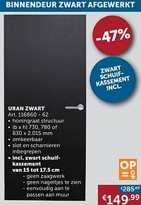 Binnendeur zwart afgewerkt uran zwart-Huismerk - Zelfbouwmarkt