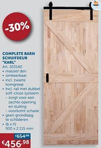 Complete barn schuifdeur karl-Huismerk - Zelfbouwmarkt