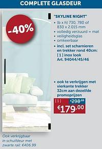 Complete glasdeur skyline night inox look-Huismerk - Zelfbouwmarkt