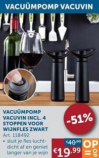 Vacuümpomp vacuvin incl. 4 stoppen voor wijnfles zwart-Huismerk - Zelfbouwmarkt
