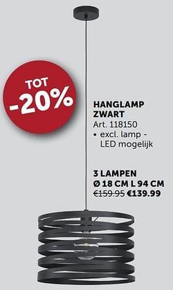 Hanglamp zwart 3 lampen ø 18 cm l 94 cm