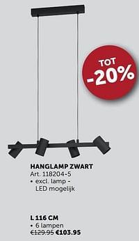 Hanglamp zwart l 116 cm-Huismerk - Zelfbouwmarkt