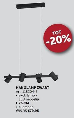 Hanglamp zwart l 76 cm