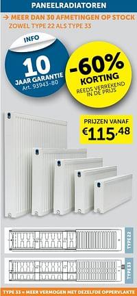 Paneelradiatoren -60%-Huismerk - Zelfbouwmarkt