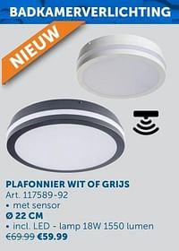 Plafonnier wit of grijs ø 22 cm-Huismerk - Zelfbouwmarkt