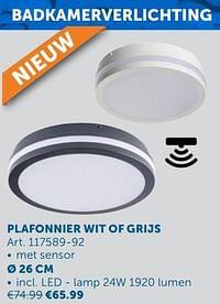 Plafonnier wit of grijs ø 26 cm-Huismerk - Zelfbouwmarkt