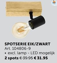 Spotserie eik-zwart 2 spots-Huismerk - Zelfbouwmarkt