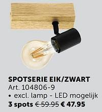 Spotserie eik-zwart 3 spots-Huismerk - Zelfbouwmarkt