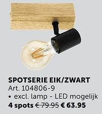 Spotserie eik-zwart 4 spots-Huismerk - Zelfbouwmarkt
