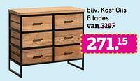 Kast gijs 6 lades-Huismerk - Leen Bakker