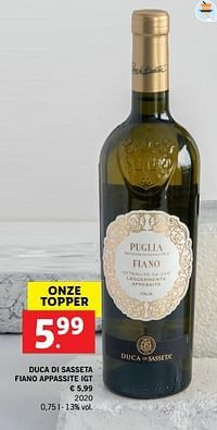 Duca di sasseta fiano appassite igt-Witte wijnen