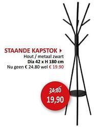 Staande kapstok hout - metaal zwart-Huismerk - Weba