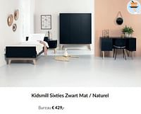 Kidsmill sixties zwart mat - naturel bureau-Kidsmill