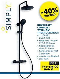 Doucheset compleet stallion thermostatisch-Simply