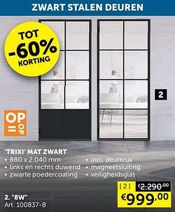 Trixi mat zwart 8w