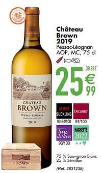 Château brown 2019 pessac-léognan aop mc-Witte wijnen