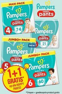 1+1 gratis op alle nappy pants-Pampers