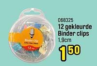 12 gekleurde binder clips-Huismerk - Happyland