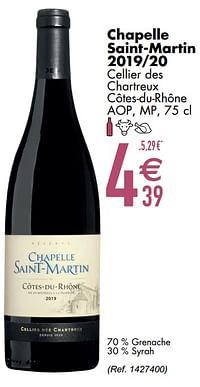 Chapelle saint-martin 2019-20 cellier des chartreux côtes-du-rhône aop mp-Rode wijnen