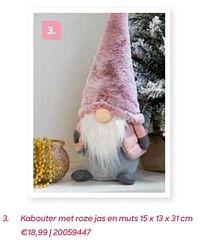 Kabouter met roze jas en muts-Huismerk - Ava