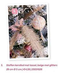 Stoffen kerstbal met tassel beige met glitters-Huismerk - Ava