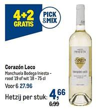 Corazón loco manchuela bodega iniesta - rood `19 of wit `18-Witte wijnen