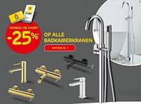 -25% op alle badkamerkranen-Huismerk - Brico