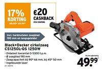 Black+decker cirkelzaag cs1250l-qs 1250w-Black & Decker
